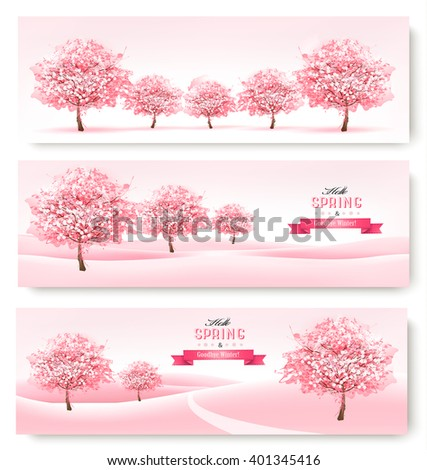Three spring banners with pink cherry blossom trees. Vector. - stock vector