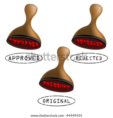 three stamps collection, approved, rejected and original. abstract art illustration - stock vector