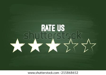 Three Star Feedback Rate Us On Green Blackboard - stock vector