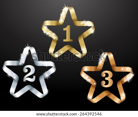 Three stars for winners - stock vector