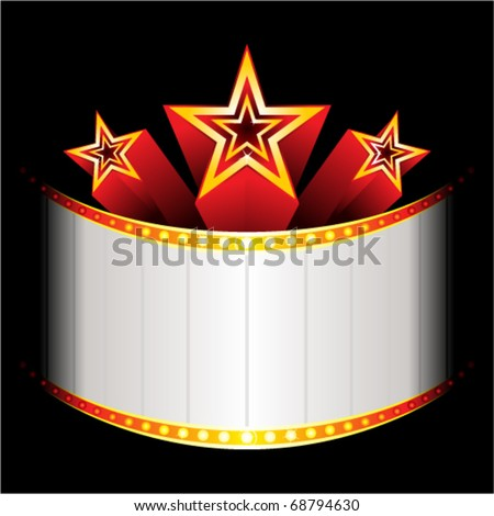 Three stars over neon with place for text - stock vector
