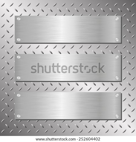 three steel plaques on iron background - stock vector