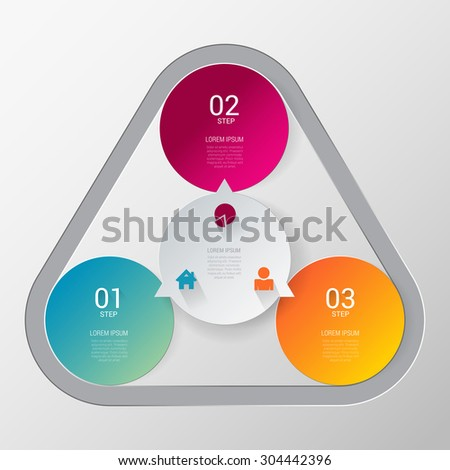 Three step process indicator simple stylish multicolor infographics mockup template. 3 circle indicators united combined by rounded triangle. Infographic elements background concepts collection. - stock vector
