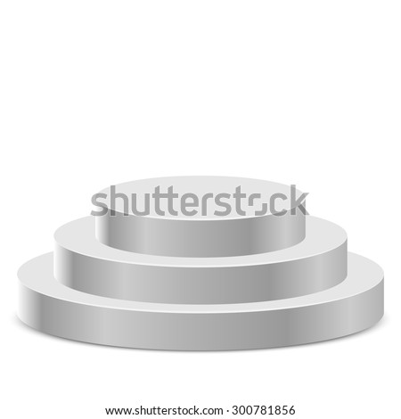 Three step white round podium isolated on white background. - stock vector