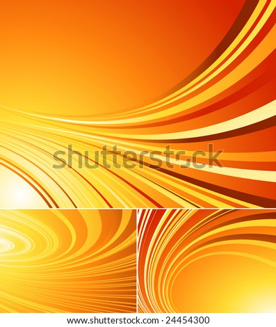 three striped vector orange backgrounds. Elements for design