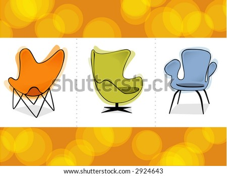 Three stylized retro revival comfy chairs on a colorful orange background. - stock vector
