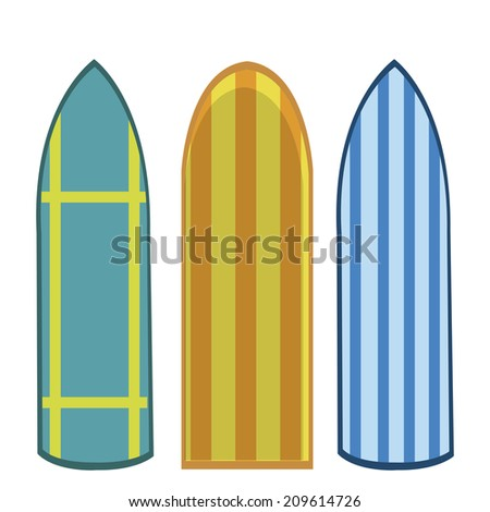 three surfboards with some textures and designs within them