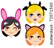 Three sweet girl heads wearing animal costume headbands for carnival - stock vector