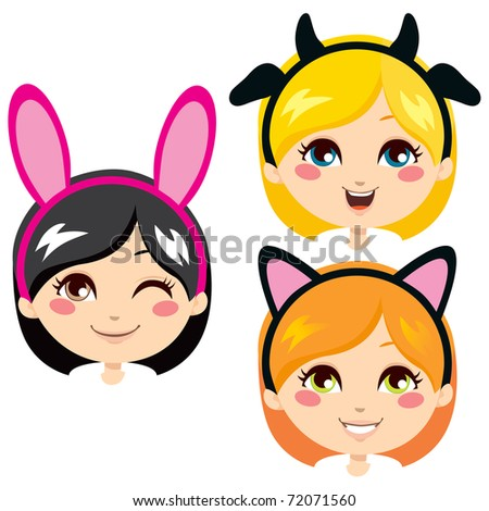 Three sweet girl heads wearing animal costume headbands for carnival - stock vector