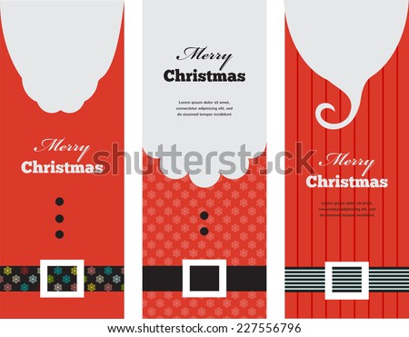 three tags of fashion  silhouette hipster style Santa Claus - stock vector