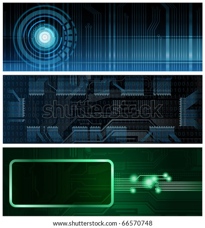 Three technology theme horizontal format vector banners. Eps10 - stock vector