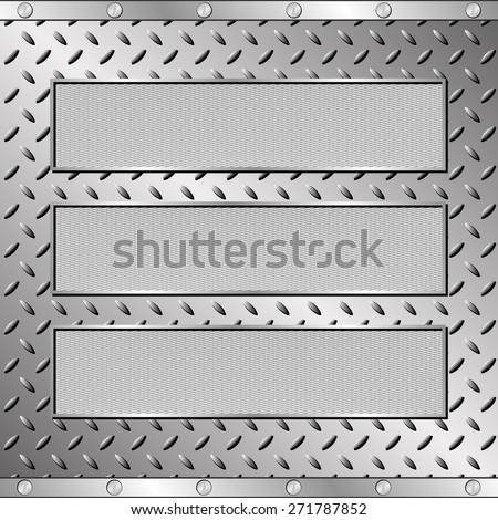 three textured plaques on steel sheet - stock vector