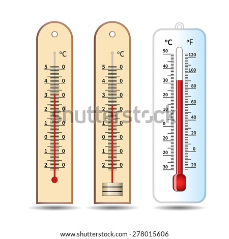 Three thermometer temperature measuring instrument - stock vector