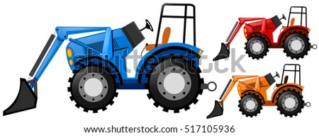 Three tractors in three colors illustration
