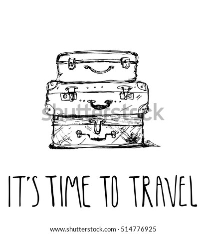 Three Travel Bag Vector Illustration Isolated Stock Vector ...