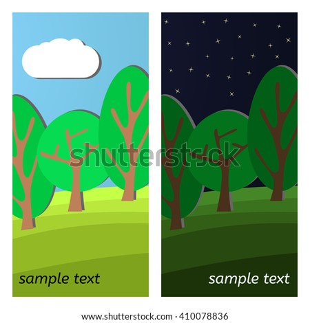 Three Trees. Day and Night on a Clearing in the Forest. - stock vector