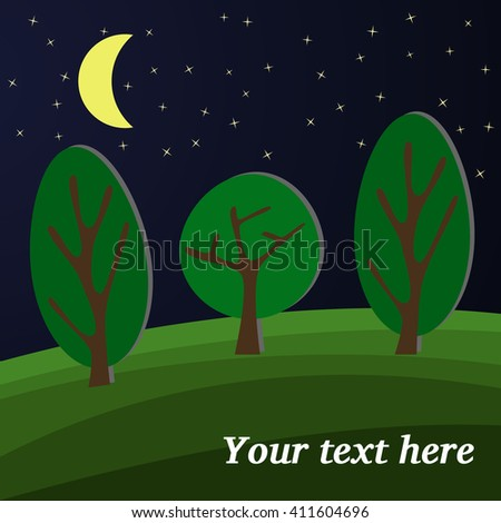 Three Trees. The Moon Lights on a Clearing in the Forest. - stock vector