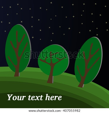 Three Trees. The Night Sky in the Forest. - stock vector