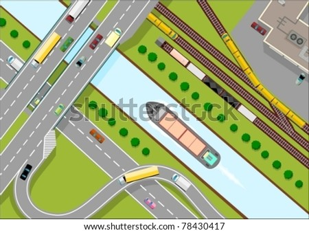 Three types of freight transport - stock vector