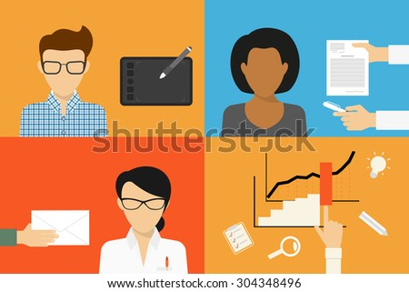 Three types of outsourcing for business start-up. Designer, consultant and accountant - stock vector