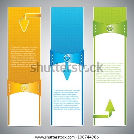 Three universal banner style web element with text - stock vector
