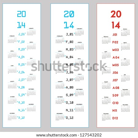 three upright calendars for 2014 - stock vector