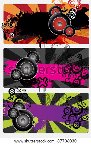 Three urban grungy music banners with place for text, vector - stock vector