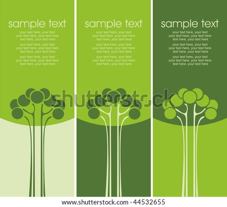 Three variants of cards with stylized trees and text - stock vector