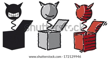 Three Variations of Jack in the Box, vector illustration - stock vector