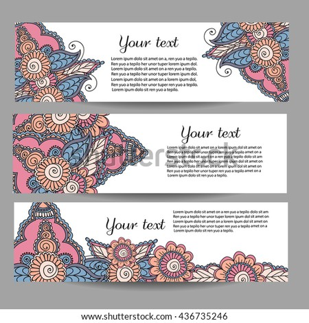 Three vector banners with beautiful monochrome floral pattern in doodle style. Vector hand drawn background. Can be used in website, magazine or advertising.