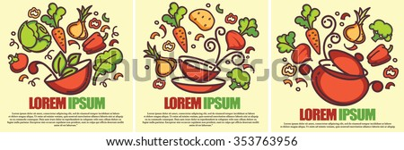 three vector cooking backgrounds in doodle style - stock vector