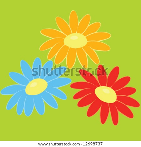 three vector flowers on green background - stock vector