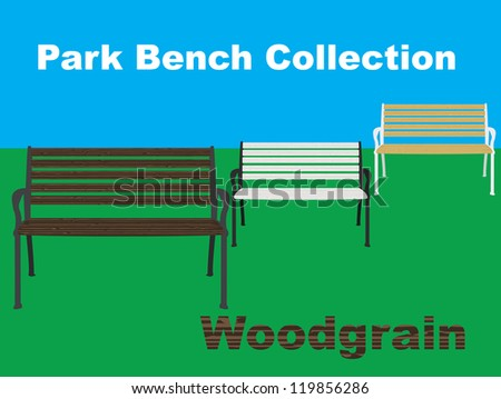 Three vector illustrated wooden park benches, one with a dark wood tone, one with a light/pine wood tone and one with a bleached white tone. - stock vector