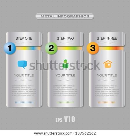 Three vector info panel elements - stock vector