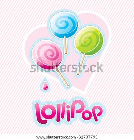 Three vector lollipops - stock vector