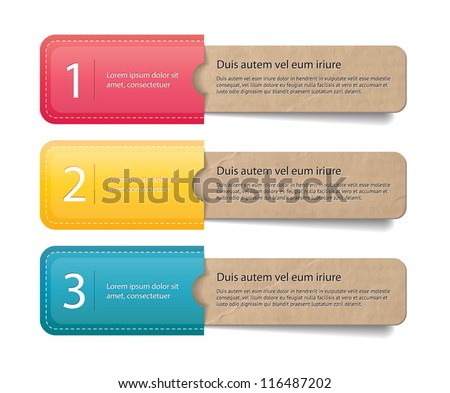 Three vector old vintage paper textured tags / labels / banners in the pockets, one two three steps - stock vector