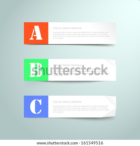 Three vector paper tags / labels / banners, one two three steps - stock vector