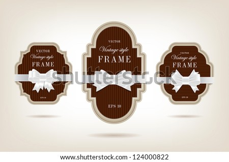 Three vector vintage style cardboard banners with white festive silky bow knots - chocolate brown - stock vector