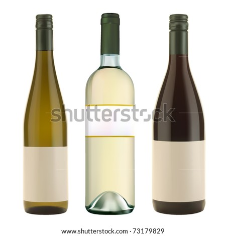 three vector wine bottles - stock vector