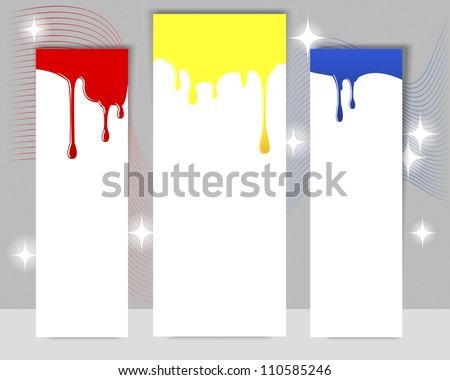 Three vertical banners with dripping paint on a gray background. EPS10. Vector illustration. - stock vector