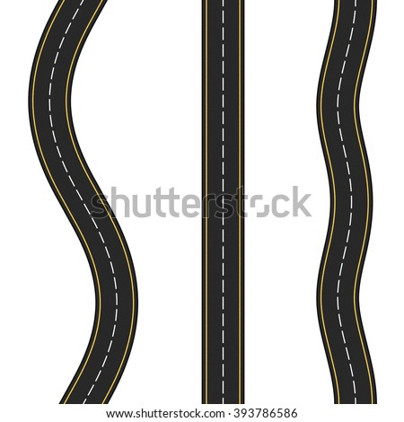 Three vertical seamless roads on white background, vector eps10 illustration - stock vector