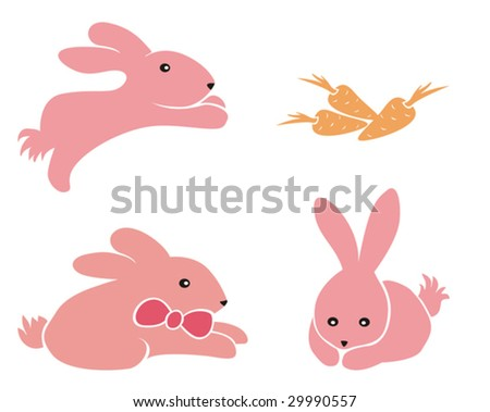 Three very cute, pink bunnies and carrots.