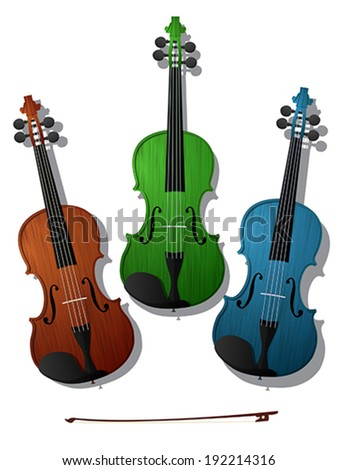 Three violins in colors against white background - stock vector