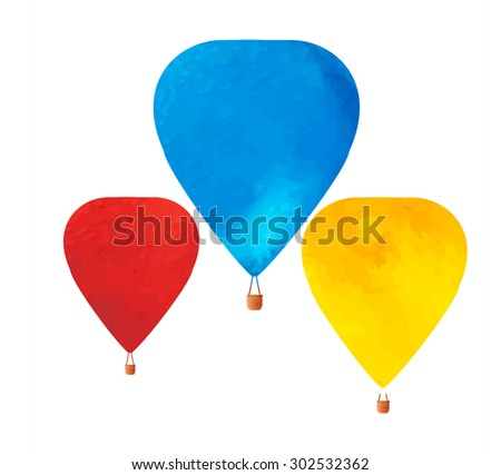 Three watercolor  hot air ballons with basket