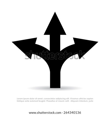 Three-way direction arrow - stock vector