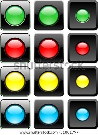 three web buttons set vector