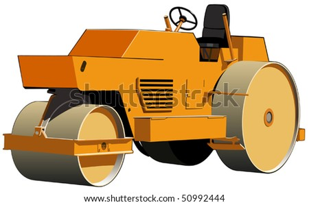 Three-wheeled roller ready for road construction work