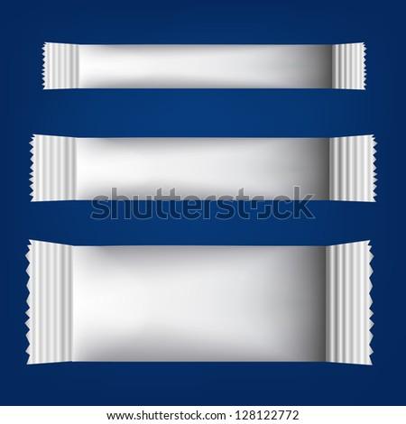 Three white Blank Foil Packaging  for Your chocolate paper Design on blue background - stock vector