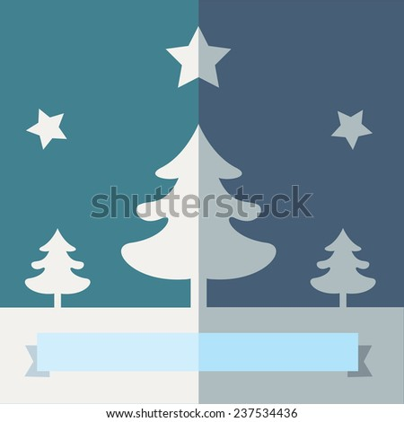 Three white Christmas Trees flat design illustration, under the stars on a  blue background, with a ribbon for copy space on the bottom. Vector image. - stock vector