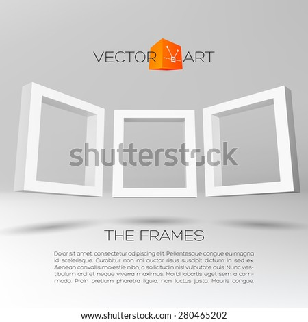 Three white rectangular 3D frames for your presentation - stock vector